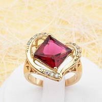002-1789 -   Красивое позолоченное кольцо с квадратным рубиновым и прозрачными фианитами, 17, 18 р.