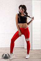 Спортивный костюм: черный топ+красные лосины