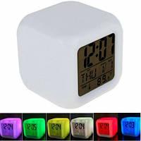 Часы хамелеон, термометр будильник ночник 7 цветов