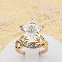 002-1799 - Чудесное позолоченное кольцо Цветок с прозрачными фианитами, 16.5 р.