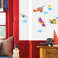 Самолеты  наклейки для детской комнаты