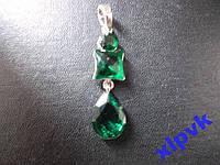 Подвеска Три Зеленых Изумруда -925-ИНДИЯ + Подарок