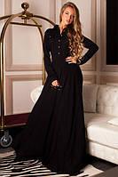 Длинное платье в пол с планочкой на пуговицах