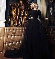 Длинное  платье в пол с пышной юбкой и фатиновым подъюбником