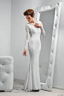 Эксклюзивное длинное гипюровое платье в пол с длинными рукавами