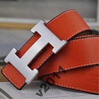 Оранжево-рыжий кожаный ремень HERMES