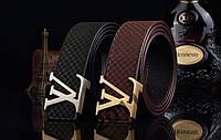 LV Louis Vuitton - черный кожаный замшевый ремень