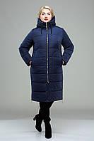 Зимнее женское пальто больших размеров-М-348 синее