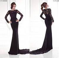 Эксклюзивное длинное платье в пол со шлейфом и гипюровым верхом