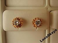 Серебряные серьги-пусеты 925 пробы позолота 850