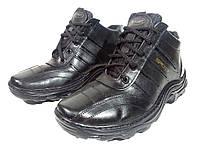 Ботинки зимние мужские натуральная кожа черные на шнуровке (03)