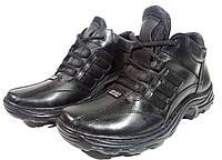 Ботинки зимние мужские натуральная кожа черные на шнуровке (07)