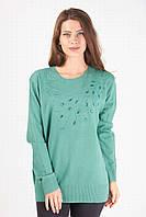 Кашемировая кофточка зеленого цвета большого размера с камушками на груди