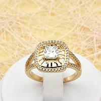 002-1815 - Красивое позолоченное кольцо с прозрачными фианитами, 17.5, 18, 18.5 р.
