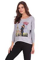 Модная трикотажная кофта прямого кроя рукав летучая мышь с романтичным рисунком