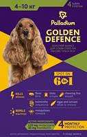 Palladium GOLDEN DEFENCE Капли на холку для собак весом от 4 до 10 кг 4 пипетки