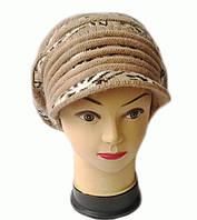 Берет с козырьком(кепка) женская вязаная Леона шерсть натуральная цвет бежевый темный