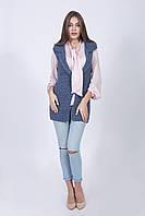 Жилет женский крупной вязки цвета джинс