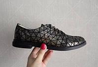 """Туфли женские кожаные с шнурками на низком ходу """"мозаика"""""""