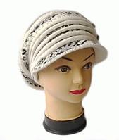 Берет с козырьком(кепка) женская вязаная Леона шерсть натуральная цвет белый