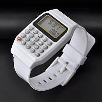 Экектронные часы + Калькулятор для школы Белые