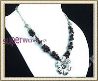 Ожерелье -ГРАНАТ натуральный + Тибетское серебро
