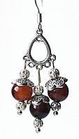 Серьги - АГАТ Оникс + Тибетское серебро. Крюк 925