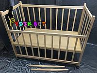 Кровать детская КФ 2 ольха нелакированная (колеса, качалка, опускание борта)