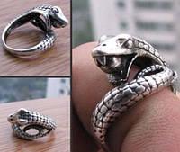 Кольцо ЗМЕЯ с открытой пастью Тибет серебро 17 мм