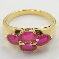 Покрытое золотом кольцо 9k с рубинами 17 мм