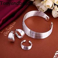 Кольцо+Браслет+Серьги - НИТОЧКИ - покрыт серебром