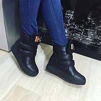 Ботинки женские Shoes на меху черные, зимняя обувь