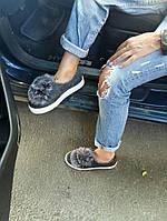 Слипоны мокасины женские Joseph Saunders с чернобуркой, кеды женские осенняя обувь