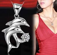 Подвеска Дельфин белый камень/бижутерия/цвет серебро