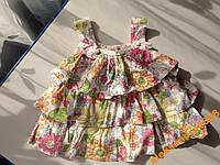 Платье сарафан в цветы для девочки  6-18 месяцев