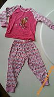 Детская пижама пижамка розовая с лошадкой на длинн