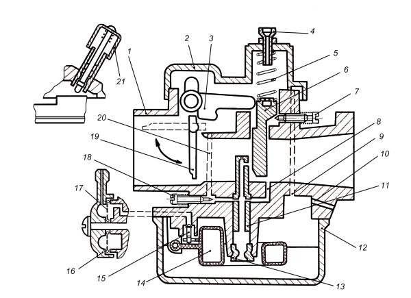 Рис. 1 Схема карбюратора К60В: