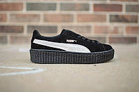Кроссовки женские Puma x Rihanna Creeper Satin Black/White (пума, оригинал)