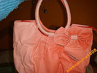Женская коралловая оранжевая сумка с бантом