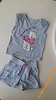 Комплект для девочки футболка и шорты серый 110 см