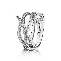 Кольцо Сверкающая змея из серебра 925 пробы pandora