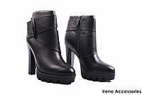 Ботильоны женские кожаные Deenoor (ботинки на каблуке, стиляги, байка с 35)