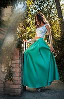 Платье-костюм (гипюровый топик на бретелях и длинная пышная юбка в пол)