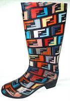 Модные и яркие женские резиновые сапоги на каблучке р.37 с теплой стелькой