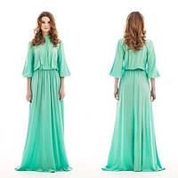 Длинное шифоновое платье в пол с расклешенной юбкой и воротником-стойка