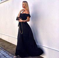 Длинное платье в пол с оборкой по низу юбки