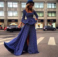 Эксклюзивное длинное платье в пол в горошек с баской