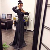Длинное шифоновое платье в пол в горошек