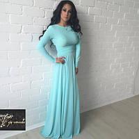 Длинное приталенное платье в пол с расклешенной юбкой