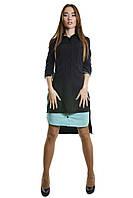Платье-рубашка асимметричного кроя с юбкой-вставкой